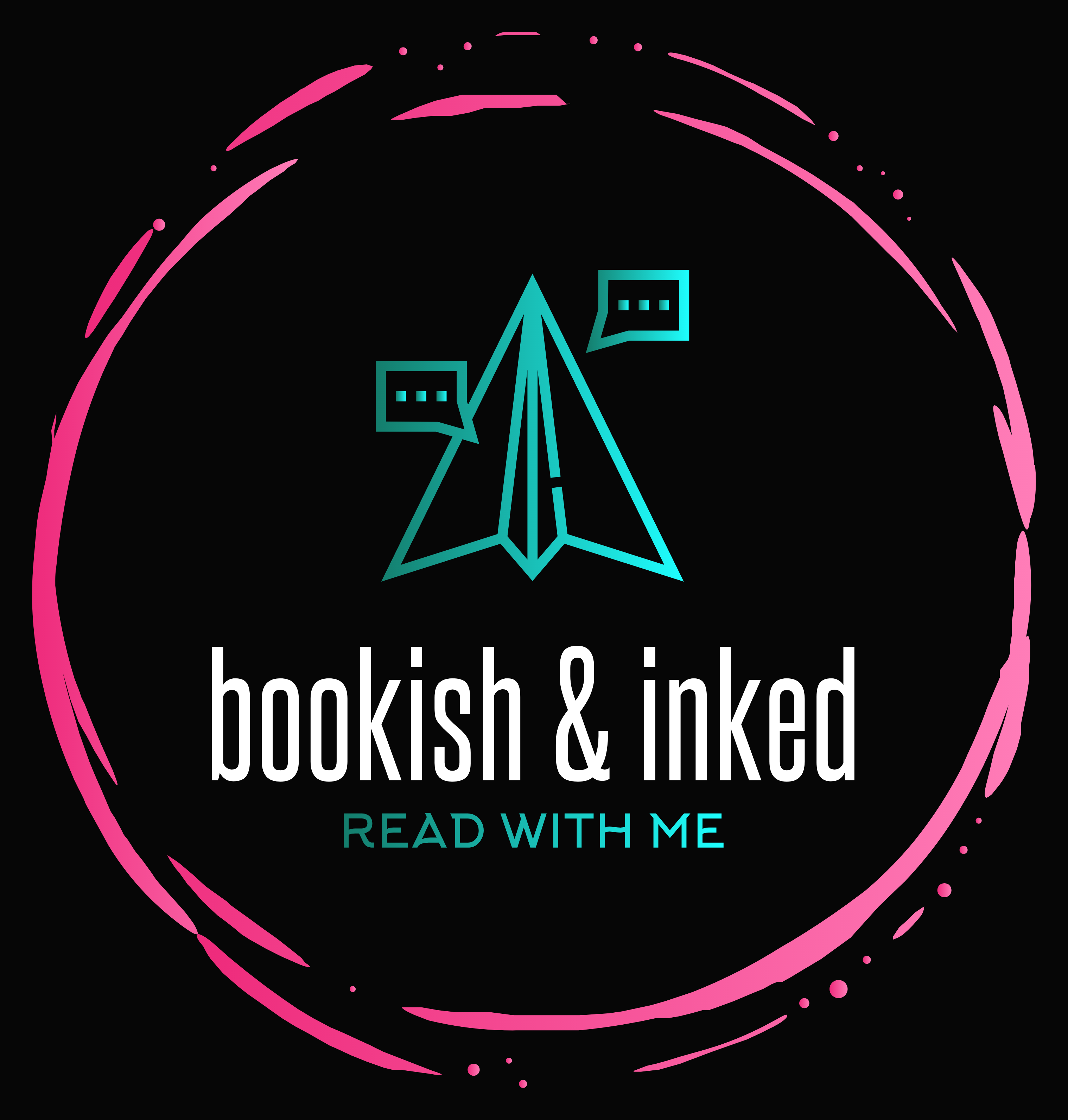 Bookish and Inked logo: a hot pink broken circle surrounding a teal paper airplane with comment bubbles on either side. bookish & inked is below with Read with me as the slogan.